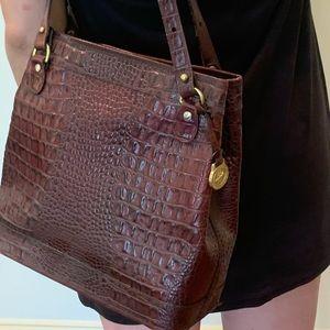 Brahmin crocodile embossed leather bag